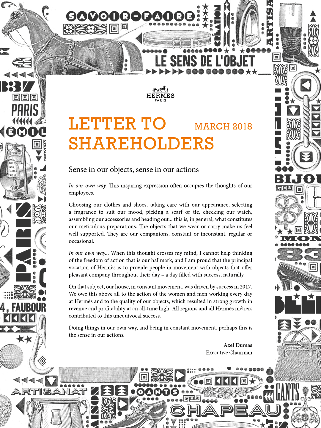 Cover - Lettre to shareholders - April 2018
