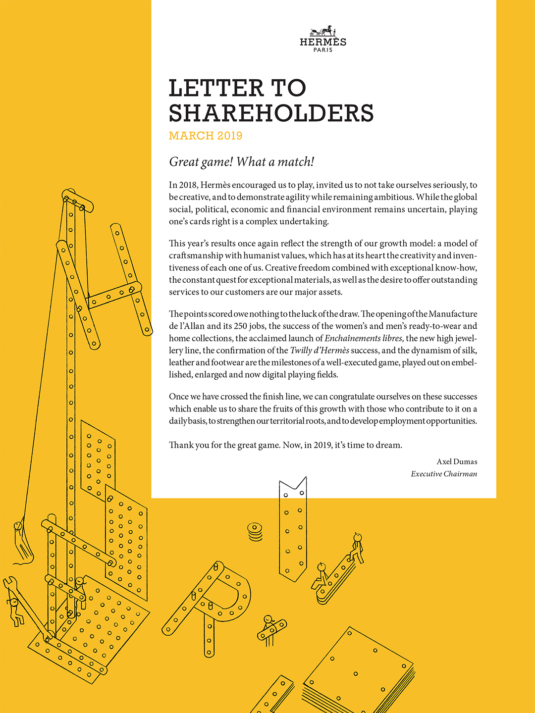 Cover - Lettre to shareholders - April 2019