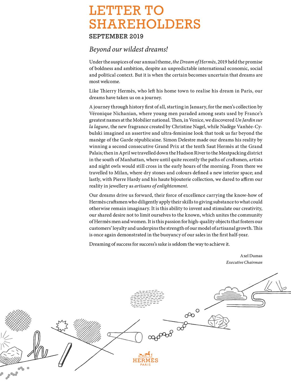 Cover - Lettre to shareholders - Sept. 2019
